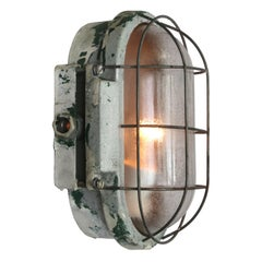 Vintage Industrial Wall or Ceiling Lamps Frosted Glass (6x)