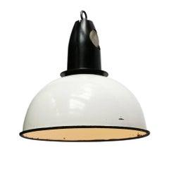 White Enamel Vintage Industrial Pendants Lights Bakelite Top (2x)