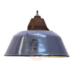 Blue Gray Enamel Vintage Industrial Clear Glass Cast Iron Pendants