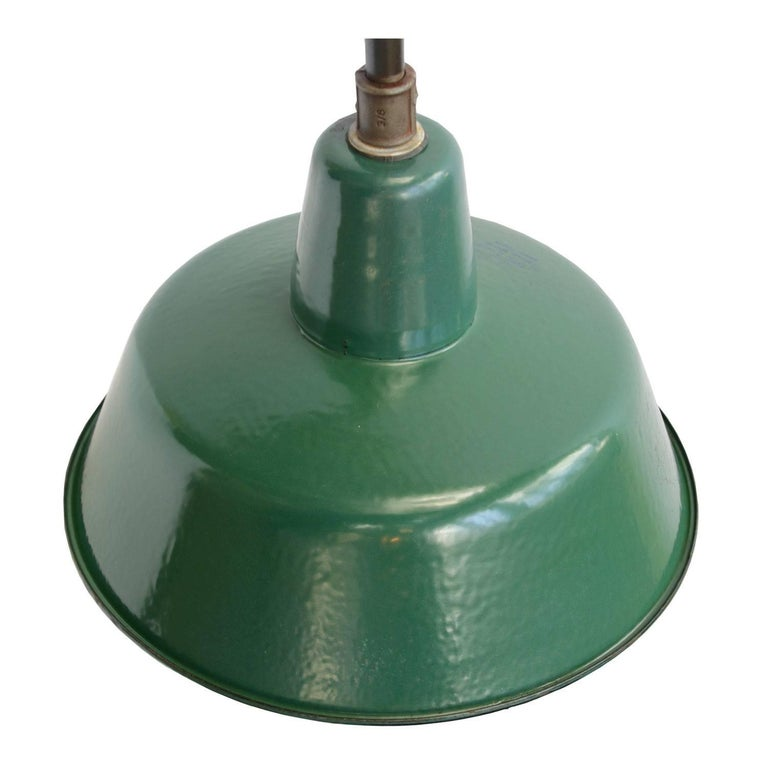 Green Enamel Wall Lights : Industrial Wall Light Green Enamel Shade Cast Iron Arm (8x) For Sale at 1stdibs