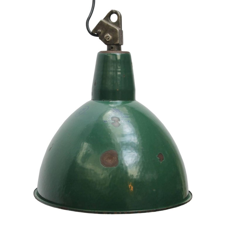 Green Enamel Industrial Hanging Light Pendant For Sale At
