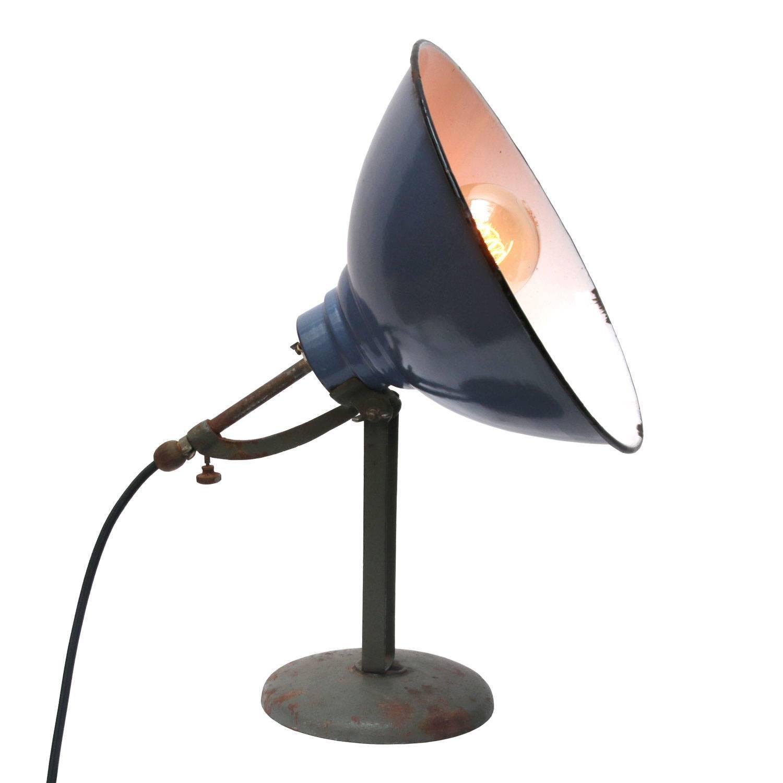 Amazing Blue Enamel Desk Table Lamp Cast Iron Foot