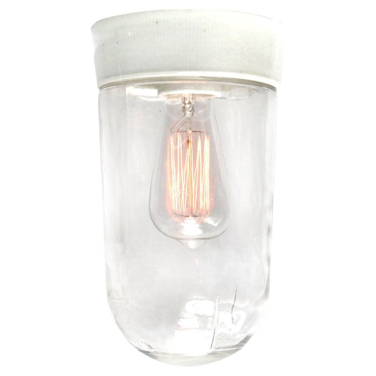 French Porcelain Vintage Industrial Clear Glass Wall Lamp Sconces (13x) For Sale
