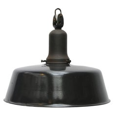 Black Enamel Vintage Industrial Pendant by Kandem, 1930s
