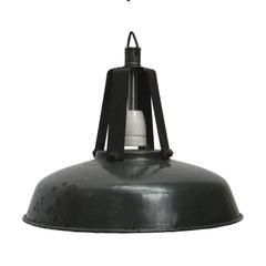 Black French Vintage Industrial Enamel Factory Pendant Light