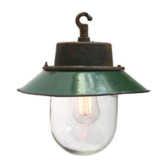 Green Vintage Industrial Enamel Cast Iron Clear Glass Pendant Lights (4x)