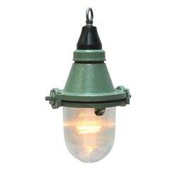 Green Cast Aluminum Vintage Industrial Light Holophane Glass