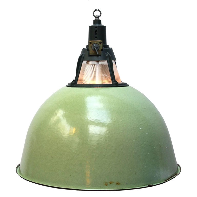 Green Enamel Vintage Industrial Pendant Light Holophane Glass (2x)