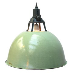 Light Green Enamel Vintage Industrial pendant Lights (2x)