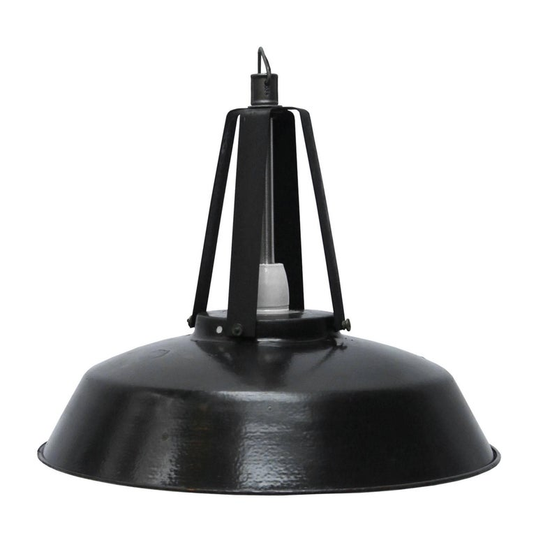 Vintage Industrial Enamel Pendant Light: Black Enamel French Vintage Industrial Factory Pendant