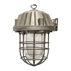 Gray, Metal Vinatge Industrial Cast Clear Glass Cage Lamp (6x)