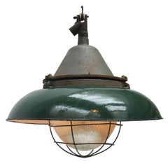 Green Enamel Cast Iron Vintage Industrial Holophane Glass Pendant Lights (2x)