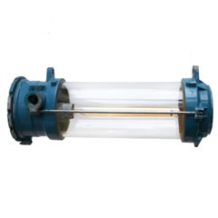 Blue Vintage Industrial Cast Aluminium Clear Glass Light
