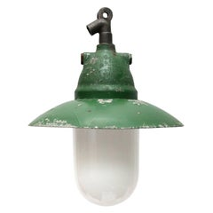 Green Cast Aluminium Vintage Industrial Opale Glass Hanging Lights (2x)