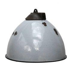 Grey Enamel Vintage Industrial Cast Iron Top Factory Pendant Light
