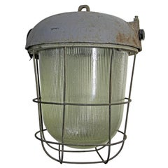 Cast Iron Holophane Glass Vintage Industrial Cage Lamp