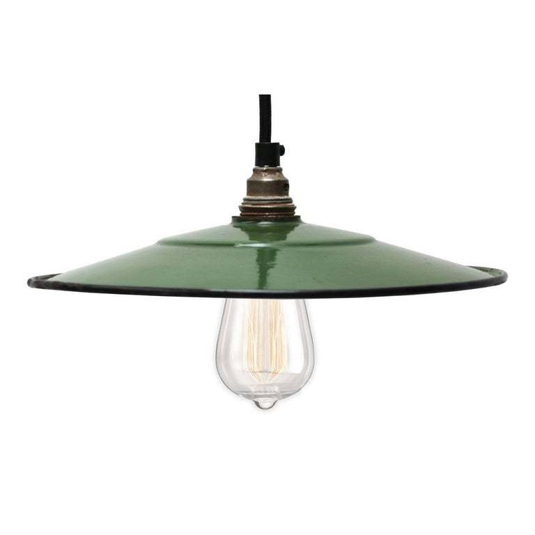 green enamel small french industrial pendant lights 2x for sale at