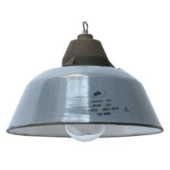 Grey Enamel Cast Iron Clear Glass Vintage Industrial Factory Pendant