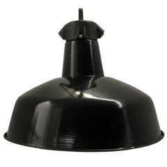 Black Enamel Vintage Industrial Bauhaus Pendant Lamps, 1930s