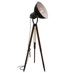 Four Black Enamel Vintage Industrial Spotlight on French Wooden Tripod