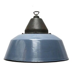 Blue Gray Enamel Cast Iron Vintage Industrial Factory Pendant Lights (14x)