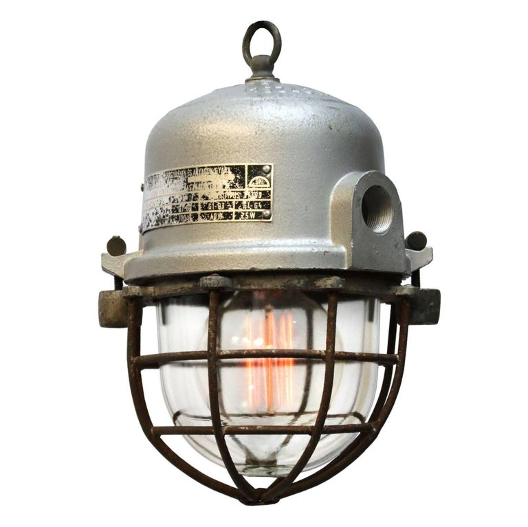 Gray Cast Aluminium Vintage European Industrial Cage Clear Glass Lamps (2x)