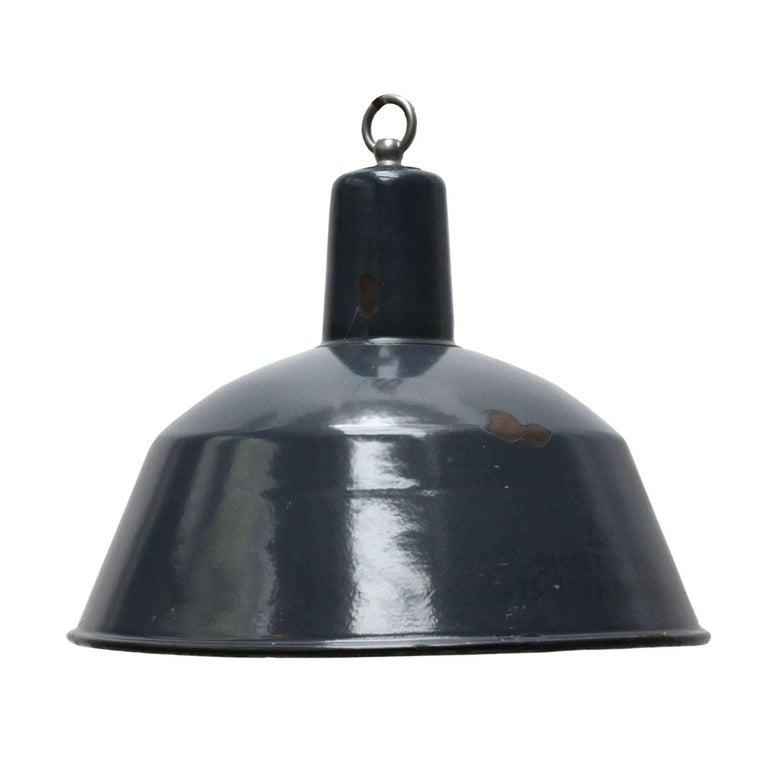Blue Enamel Vintage Industrial Factory Hanging Light