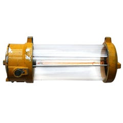 Yellow Vintage Industrial Cast Aluminium Clear Glass Light