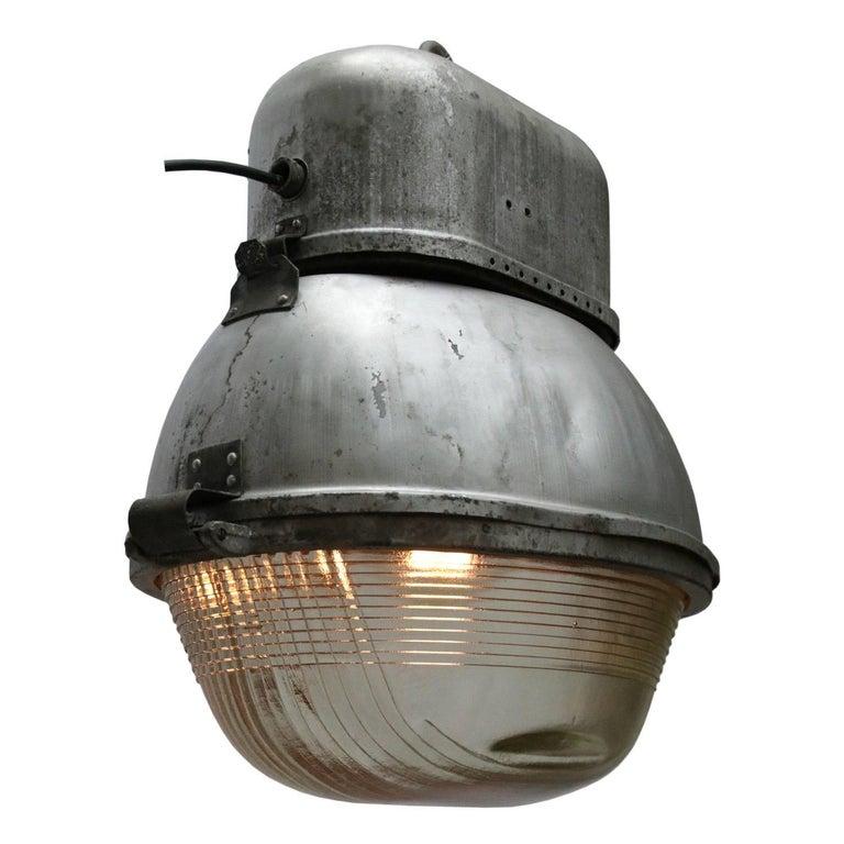 Grey Metal Oval Vintage Industrial Holophane Glass Street Light