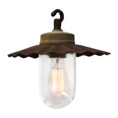 Cast Iron Industrial Pendant Lights Rust Shade Clear Glass (34x)