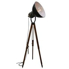 Black Enamel Vintage Industrial Wooden Tripod Lamps (3x)