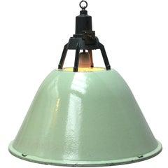 Green Enamel Vintage Industrial Pendant Lamp