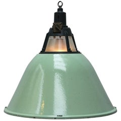 Large Green Enamel Vintage Industrial Holophane Glass Pendant Lights (6x)