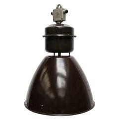 Cognac Brown Enamel Vintage Industrial Factory Pendant Lamps (12x)
