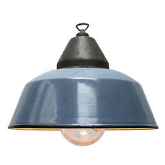 Blue Gray Enamel Vintage Industrial Cast Iron Clear Glass Hanging Lights (14x)