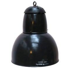 Three Large Black Enamel Vintage Industrial Pendant Lights Cast Iron Top