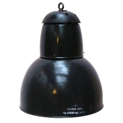 Large Black Enamel Vintage Industrial Pendant Lights Cast Iron Top (3x)