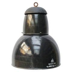 Dark Blue Raw Enamel Vintage Industrial Pendant Lights Cast Iron Top (8x)
