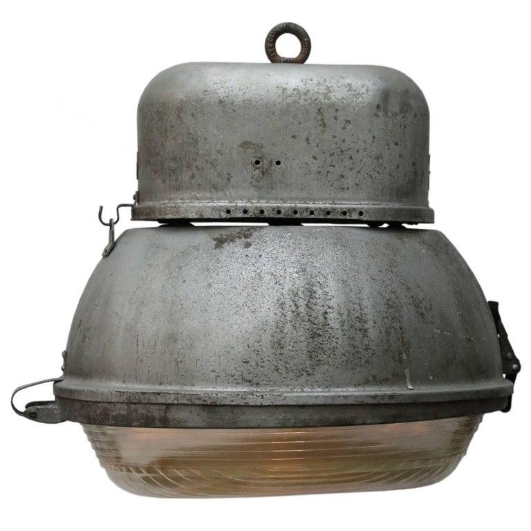 Grey Alumnium Vintage Industrial Oval Holophane Glass Street Lights (2x)