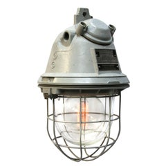 Gray Cast Aluminum Vintage European Industrial Clear Glass Cage Lights (2x)