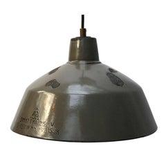 Gray Brown Enamel Vintage Industrial Factory Pendant Light