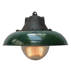 Green Enamel Vintage Industrial Cast Iron Holophane Glass Pendant Lamps