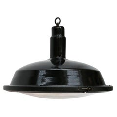 Black Enamel Vintage Industrial Pendant Lamp Rounded Glass