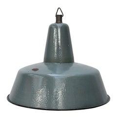 Four-Light Petrol Enamel Vintage Industrial Pendant Lights
