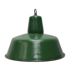 Light Green Enamel Vintage Industrial Pendant Lamps (2x)