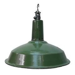 Green Enamel Vintage Industrial Pendant Lights (2x)