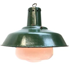 Green Enamel Vintage Industrial Opaline Glass Pendant Lights (11x)