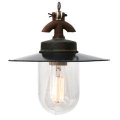 Black Enamel Vintage Industrial Cast Iron Clear Glass Pendant Light