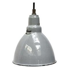 Small Gray Enamel Vintage Industrial Pendant Light