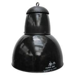 Large Black Enamel Vintage Industrial Cast Iron Top Pendant Lights (13x)